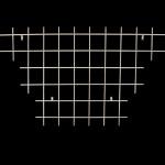 8' W x 4' H. T-shape